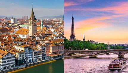 قیمت تور ترکیبی زوریخ و پاریس