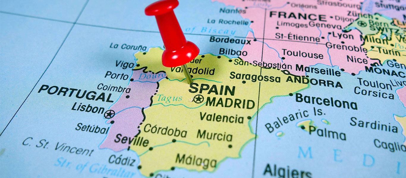 موقعیت جغرافیایی و مساحت کشور اسپانیا